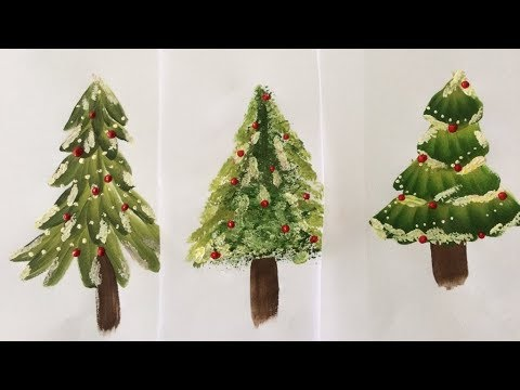 one stroke painting how to paint christmas trees - How To Paint A Christmas Tree