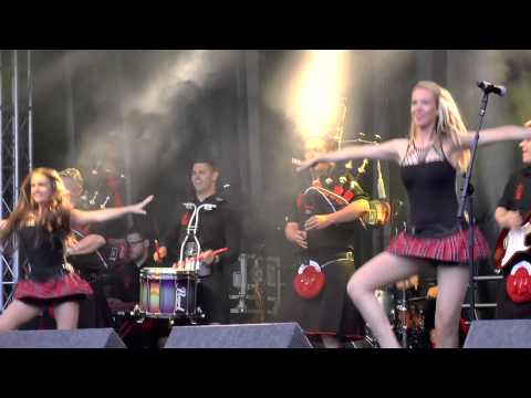 Red Hot Chilli Pipers with Dancing Girls at 2014 Shrewsbury Flower Show