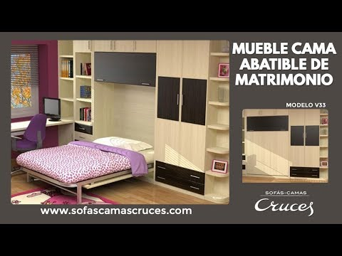 Mueble cama abatible de matrimonio youtube - Fabricar cama abatible ...