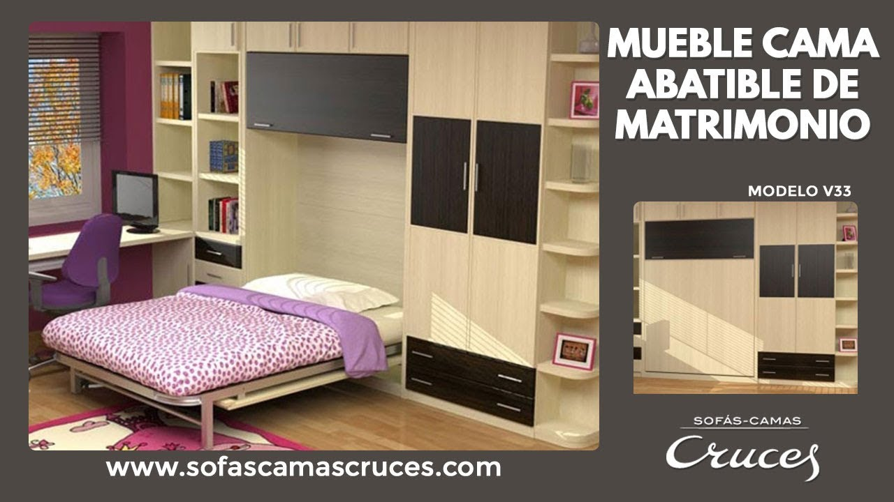 Mueble cama abatible de matrimonio - YouTube