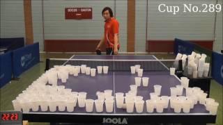 Worlds first! Master level 400cups ping pong trickshot!世界初卓球トリックショットコップ400個!ペン粒高ノムケン
