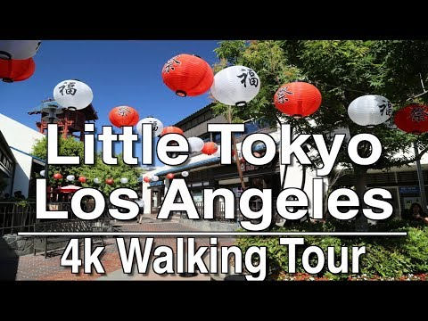 Walking Tour of Little Tokyo Los Angeles | 4K Dji Osmo | Ambient Music