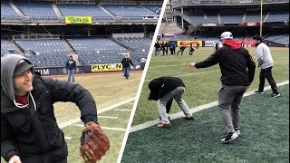 Playing baseball and football at Yankee Stadium