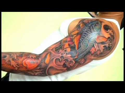 Full Sleeve Koi Fish Tatoo Blue Orangewmv
