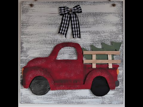 LITTLE RED TRUCK SIGN ~ Dollar Tree Farmhouse DIY ~ Super Cute and Super Budget Friendly!