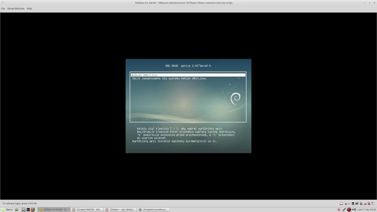 Linux Debian 9 Stretch Instalacja Systemu 1080p Youtube