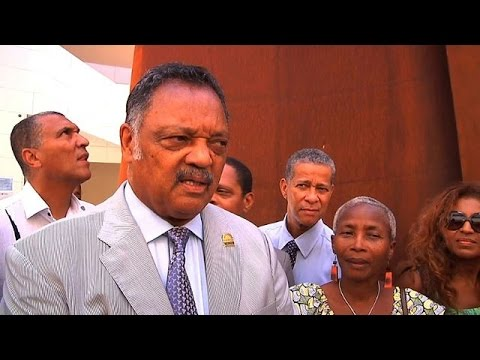Jesse Jackson visits slavery memorial centre in Guadeloupe
