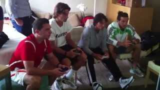 Nadal, Monaco and Ferrer playing playstation