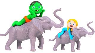 KIDS PLAYING WITH TOY JUNGLE ANIMALS ❤ SUPERHERO PLAY DOH CARTOONS FOR KIDS