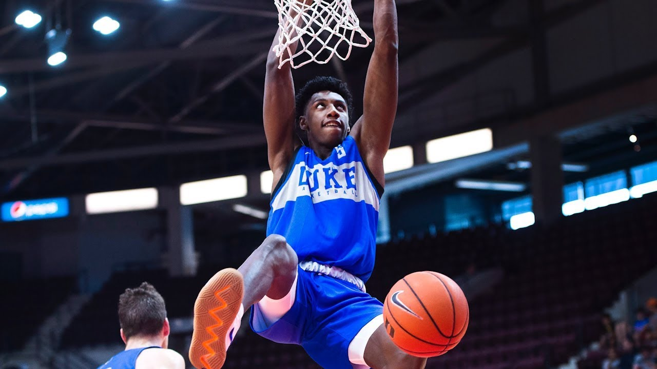 promo code 53399 5d679 R.J. Barrett and Duke put on dunk show at Ontario practice