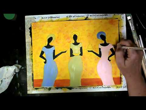 Island Girls Acrylic painting Tutorial Free lesson Acrylic Painting for Beginers