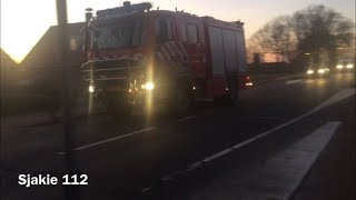 Prio 2 brandweer Ootmarsum komt ter plaatse voor wegdekreiniging in Tilligte