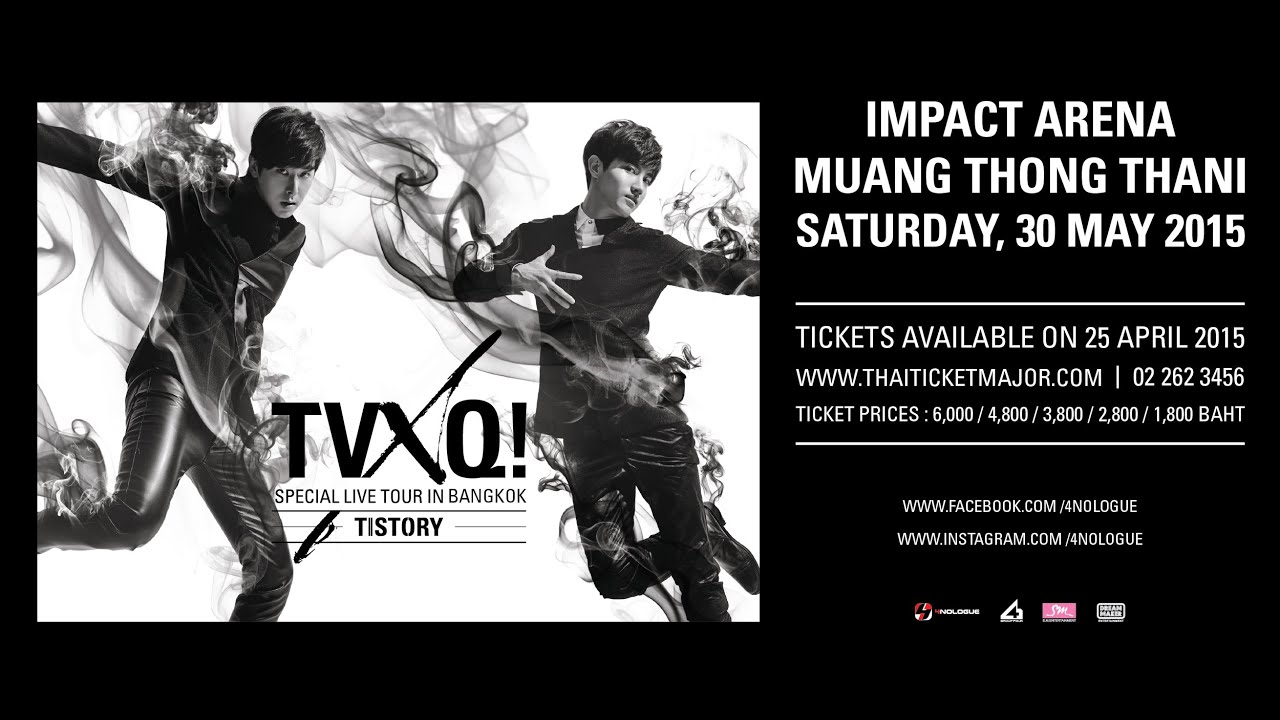 tvxq live in bangkok The south korean pop duo tvxq have embarked on thirteen headlining concert  tours, one of  in bangkok, yoochun took over key's part due to his inability to  attend the concert yunho sung an upbeat song of his own composition,.