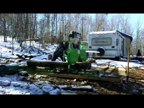 Harbor Freight saw mill review with an oak log.