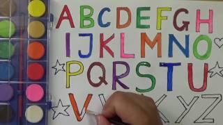 Bé tập vẽ và tô màu bảng chữ cái tiếng anh in HOA nhiều màu sắc | PA channel