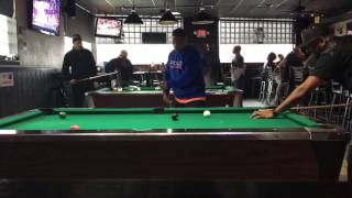 Chico playing (Last pocket) Pool
