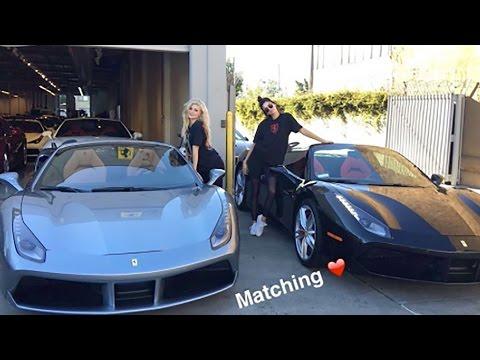 Kylie & Kendall Jenner Show Off Matching Ferraris