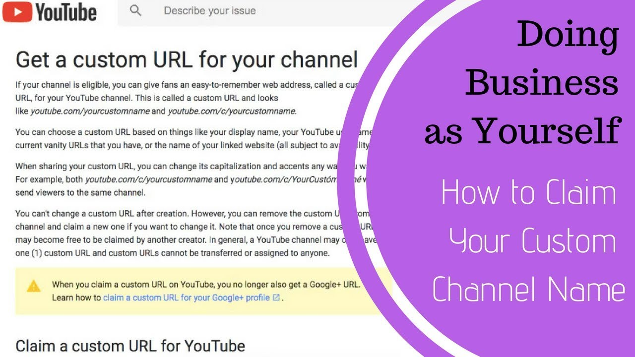 How to claim your youtube video channel custom url link