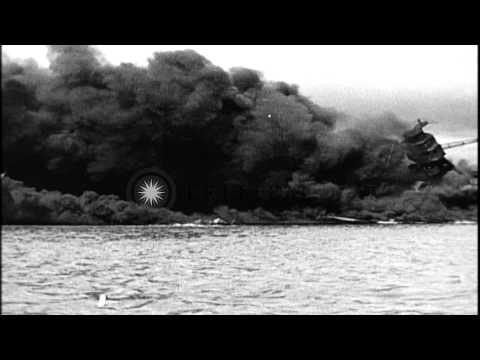 Japanese planes attack Pearl Harbor in Hawaii, USA. HD Stock Footage