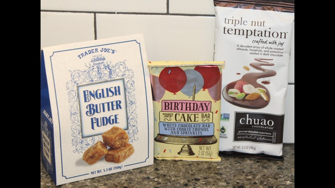 Trader Joes English Butter Fudge Birthday Cake Bar Chuao Triple Nut Temptation Review