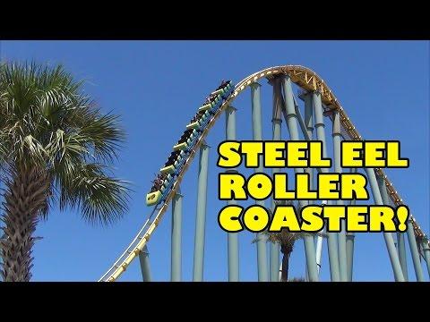 Steel Eel Roller Coaster Front Seat View POV SeaWorld San Antonio Texas 60FPS