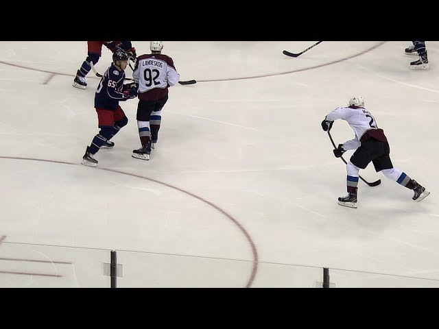 Nathan MacKinnon snipes one through Landeskog's legs!