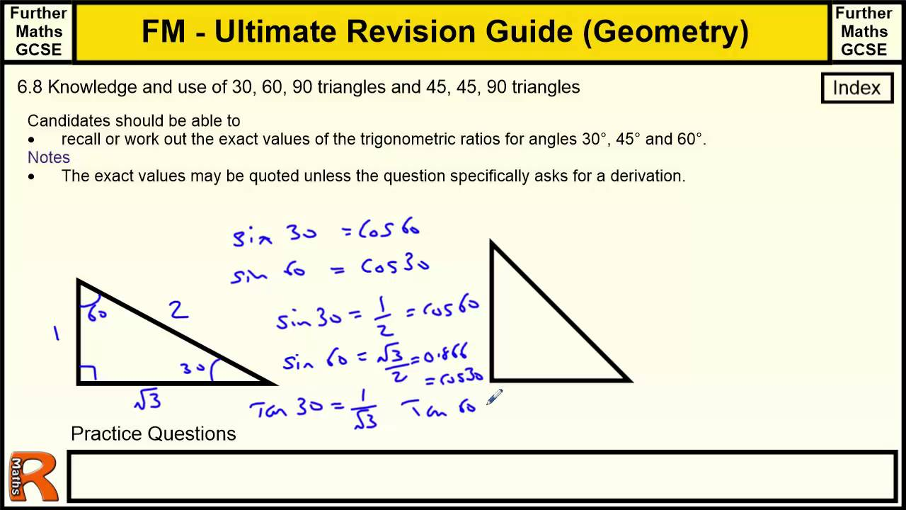 Evaluating Sine Cosine And Tangent Of Pi2: Geometry (Know And Use Of Sin Cos Tan Of 30 45 60