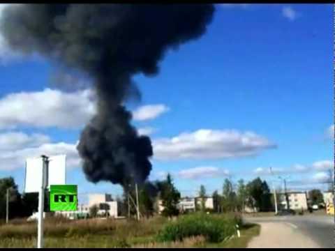 CCTV footage of Yak-42 plane crash that killed Russian hockey team