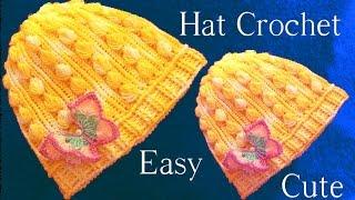 Repeat youtube video Aprende como tejer a Crochet gorro con hojas miniaturas en alto relieve - How to Crochet