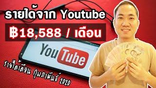 รายได้ Youtuber ฿18,588 จากยูทูป เดือน กุมภาพันธ์ 2020 | วิธีหาเงินจาก Youtube