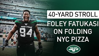 40-Yard Stroll: Folorunso Fatukasi Breaks Down How To Eat NYC Pizza | New York Jets | NFL