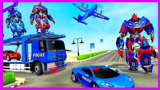 US Police Robot Car Transporter Police Plane GameAndroid gameplay screenshot 1