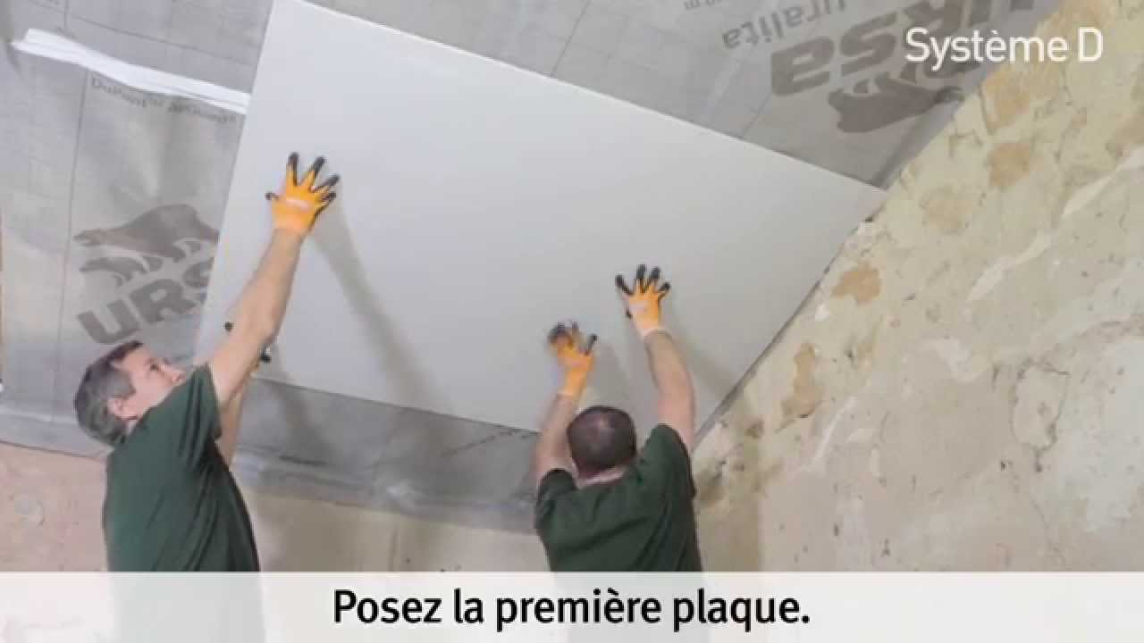 Plaquer un plafond sous rampant apr s isolation youtube for Plaque pour plafond a coller