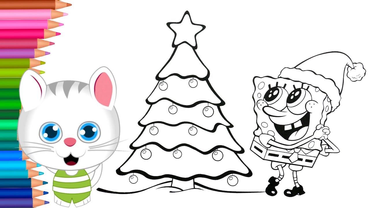 Dibujar Y Colorea Bob Esponja Con árbol De Navidad Dibujos Para Niños Con El Gatoaprender Colores