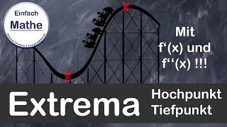 Extrema mit f´(x) und f´´(x) berechnen | Hochpunkt | Tiefpunkt by einfach mathe !