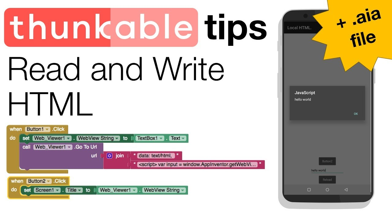 Thunkable Basics: Get and Set Web View String (with aia file)