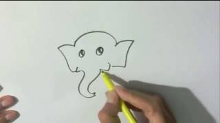 How to draw a baby elephant  - in easy steps for children, kids, beginners lesson