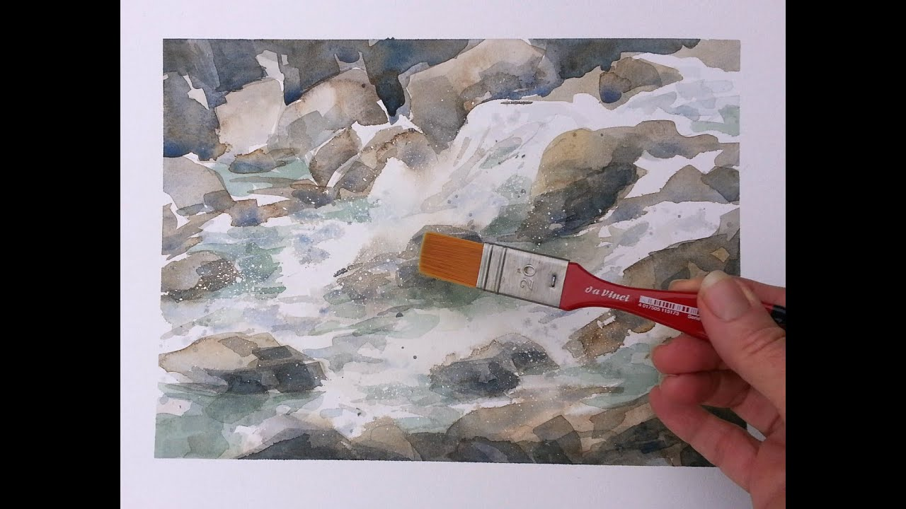 How to paint moving water in watercolor youtube for Painting on water tutorial