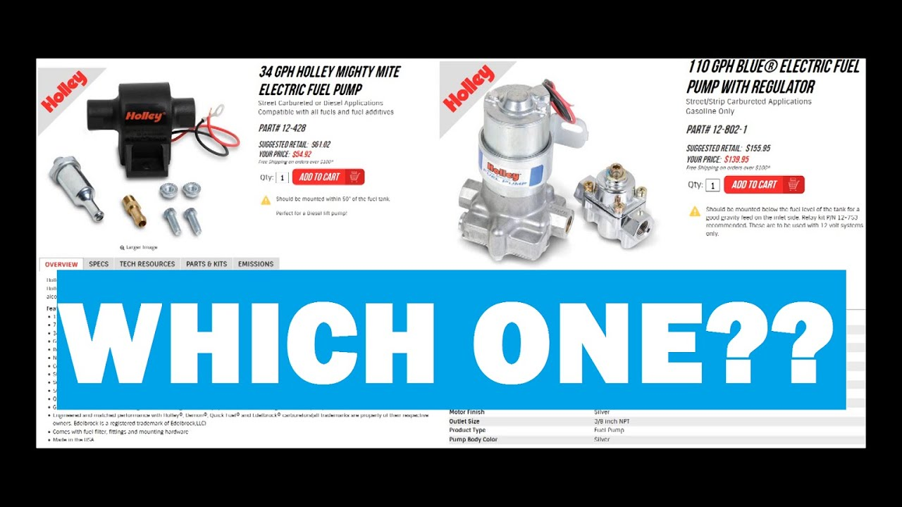 Edelbrock Electric Fuel Pump Holley Mighty Might Vs Blue Review Youtube