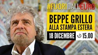 Beppe Grillo presenta il referendum #FuoriDallEuro alla stampa estera