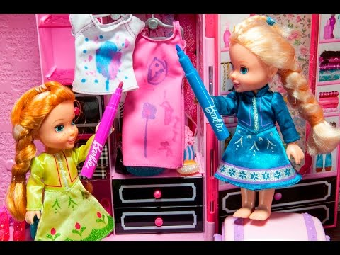 Elsa and Anna toddlers decorate their mum's clothes!