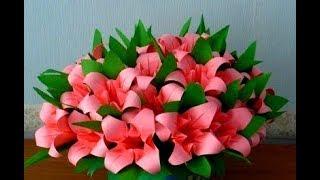Подарки своими руками МАМЕ БАБУШКЕ Цветы Тюльпаны Лилии Из Бумаги Поделки с детьми!
