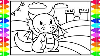 How to Draw a Dragon Step by Step for Kids 🐉💚💛💜 Dragon Coloring | Fun Coloring Pages for Kids