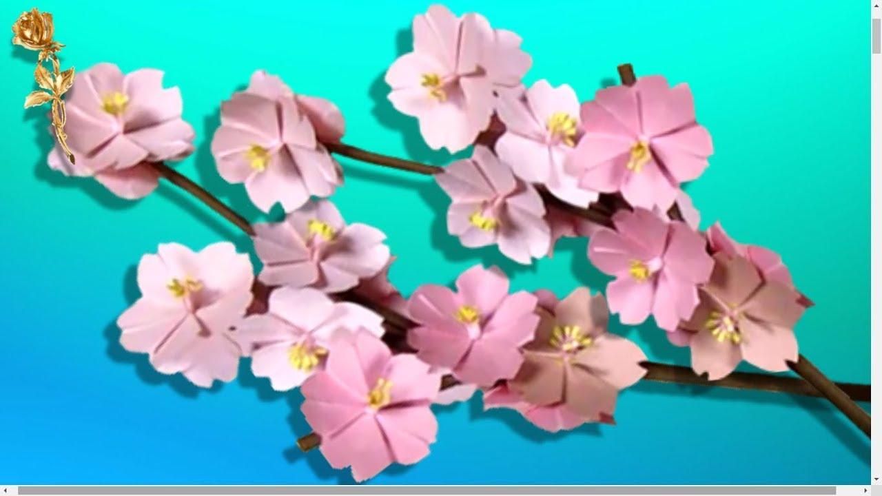origami sakura branche fleurs de cerisier youtube. Black Bedroom Furniture Sets. Home Design Ideas