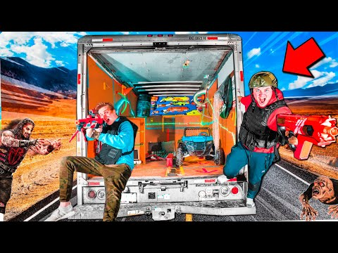 Box Fort Zombies TRUCK Survival! 24 Hour ZOMBIES Nerf War Z 📦😱