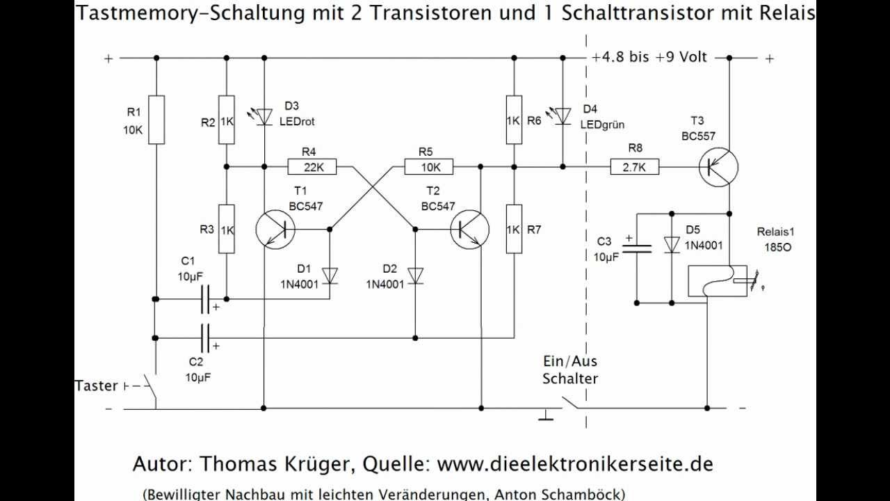 relais transistor tast memory schaltung youtube