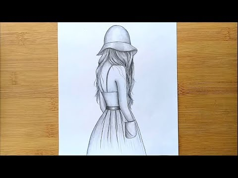 Easy way to draw a girl with hat - step by step  || Pencil sketch thumbnail