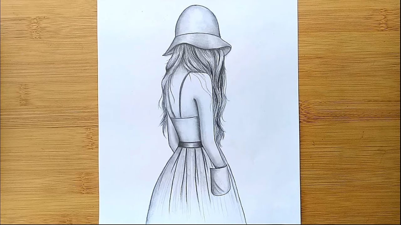 Easy way to draw a girl with hat - step by step    Pencil ...