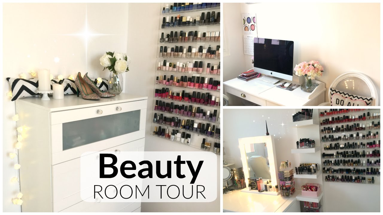 beauty room tour d co bureau pi ce beaut youtube. Black Bedroom Furniture Sets. Home Design Ideas