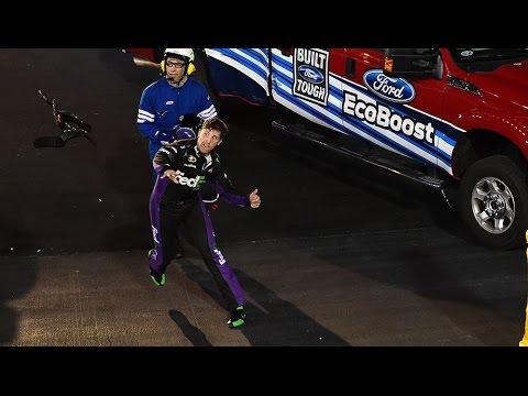 Denny Hamlin Ignores New Safety Rules, Throws HANS at Kevin Harvick's Car